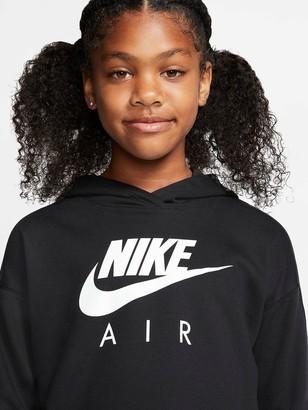 Nike Sportswear Air Older Girls Overhead Cropped Hoodie - Black