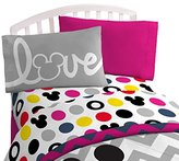 "Disney Mickey Chevron & Dots 39"" x 75"" Twin Sheet Set, Pink/Yellow/Black"