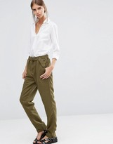 Vila Belted Relaxed Fit Pants in Ivy Green