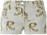 Giamba striped tiger print shorts - women - Leather/Cotton/Spandex/Elastane - 38