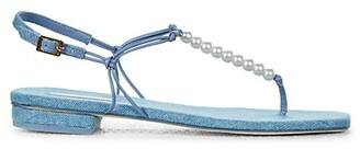 Cult Gaia Ari Faux Pearl-Embellished Denim Thong Sandals