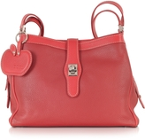Buti Red Embossed Leather Shoulder Bag