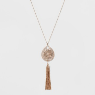A New Day Tassel & Filigree Cut Out Long Necklace Rose Gold/Clear