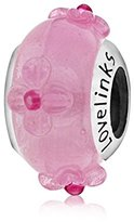 Lovelinks 925 Sterling Silver Baby Pink with 3D Flowers Murano Glass Bead