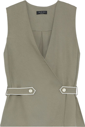 Rag & Bone Tabitha Button-detailed Textured-twill Top