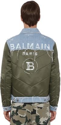 Balmain Print Cotton Denim & Nylon Down Jacket