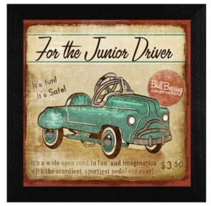"Trendy Décor 4U Junior Driver By Mollie B, Printed Wall Art, Ready to hang, Black Frame, 14"" x 14"""