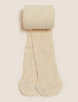 Marks and Spencer Cotton Cable Tights (2-14 Yrs)