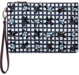Mother of Pearl A Pranzo Navy Check Medium Clutch