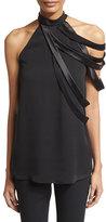 Halston Sleeveless High-Neck Blouse w/ Asymmetric Strappy Detail, Black