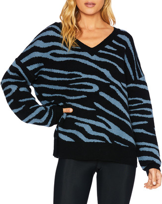 Beach Riot Joey Zebra-Print V-Neck Sweater