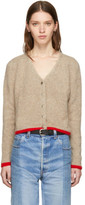 The Elder Statesman Beige Cashmere Cropped Line Cardigan