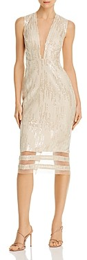 Lee Sau Kendall Sequined Illusion Dress