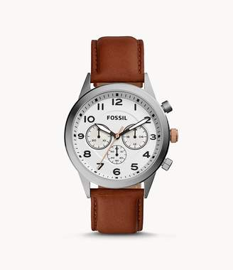 Fossil Flynn Pilot Chronograph Brown Leather Watch Jewelry