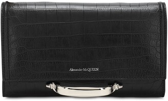 Alexander McQueen The Small Story Croc Embossed Clutch