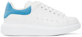 Alexander McQueen SSENSE Exclusive White and Blue Suede Tab Oversized Sneakers