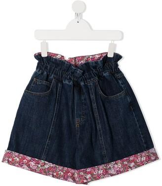 Philosophy Di Lorenzo Serafini Kids TEEN floral-trimmed denim shorts