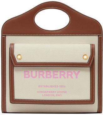 Burberry Pocket Canvas Logo Top Handle Tote Bag