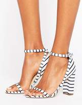 Office Stripes Barely There Heeled Sandals