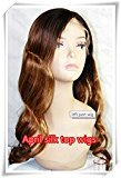 Chinese Virgin Hair Light Yaki Body Wave Ombre Hair Color Glueless Full Lace Silk Top Wig Combs Sewed Wig(20inch, Small Cap Size)