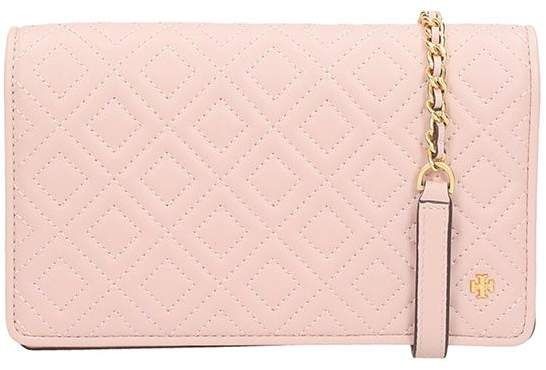 Tory Burch Pink Leather Fleming Flat Wallet Cross-body Bag