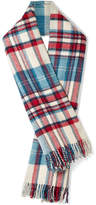 we11done - Fringed Plaid Wool Scarf - Blue