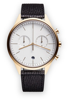 Uniform Wares C39 Women's chronograph watch in PVD satin gold with black textured calf leather strap