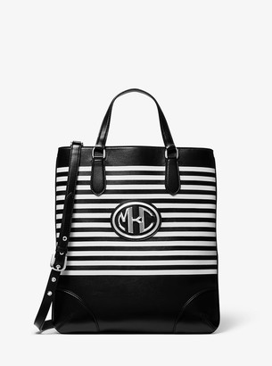 Michael Kors Striped Calf Leather Monogramme Tote Bag
