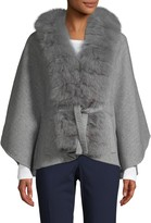 Wolfie Fur Made For Generation Fox Fur-Trim Cashmere & Wool-Blend Cape