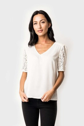 Gibson Cyndi Spivey Lace Puff Sleeve Top