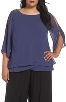 Alex Evenings Plus Size Women's Embellished Shoulder Tiered Blouse