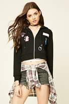 Forever 21 FOREVER 21+ Patch-Front Zippered Hoodie