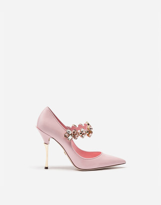 Dolce & Gabbana Patent Leather Pumps With Bejeweled Applique