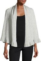 Neiman Marcus Merino Wool-Blend Short Ruffle-Hem Wrap, Gray
