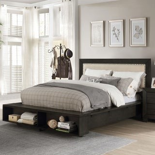 Furniture of America Noga Transitional Grey Solid Wood Platform Bed