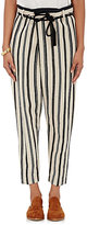 Giada Forte Women's Striped Cavas Crossover-Front Pants-CREAM