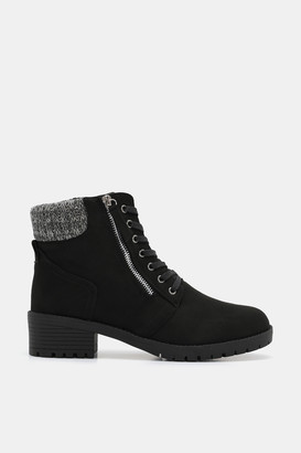 Ardene Faux Suede Combat Booties - Shoes |