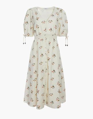 Madewell Tie-Sleeve Smocked-Waist Button-Front Midi Dress