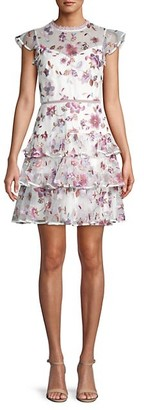 ML Monique Lhuillier Floral Embroidery Tulle Fit--Flare Dress