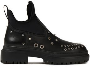 McQ Tryb Neoprene-paneled Embellished Leather Ankle Boots