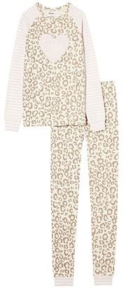 Hatley Painted Leopard Raglan PJ Set (Toddler/Little Kids/Big Kids) (Pink) Girl's Pajama Sets