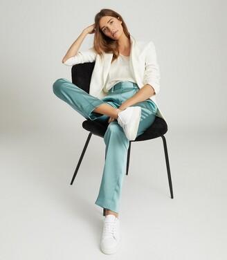 Reiss Elyssah - Satin Pleated Trousers in Blue