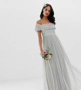 Maya Bridesmaid bardot maxi tulle dress with tonal delicate sequins in silver