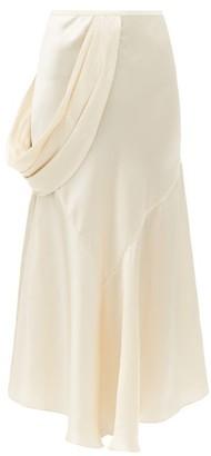 Simone Rocha Draped-side Silk-satin Slip Skirt - Cream