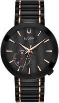 Bulova Men's Grammy Dress Black & Rose Gold-Tone Stainless Steel Bracelet Watch 42mm