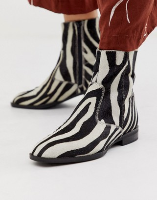 Asos Design DESIGN Alfie suede sock boots in zebra pony