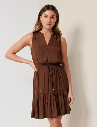 Forever New Poppy Tiered Skater Dress - Chocolate Sundae - 10