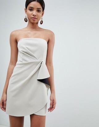 Asos Design DESIGN bonded bandeau origami front mini dress-Grey