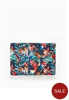 Very Tropical Floral Print Envelope Clutch