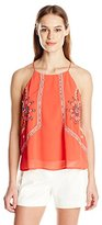 Blu Pepper Women's Tomato Red Woven Top with Spaghetti Straps and Embroidery